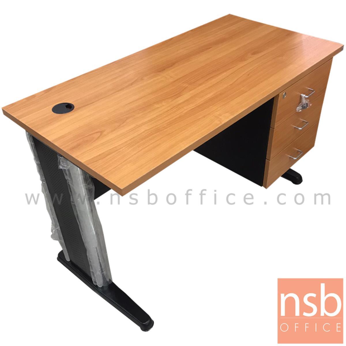 โต๊ะทำงาน 3 ลิ้นชัก  ขนาด 120W*74H cm. ขาเหล็ก สีเชอร์รี่ดำ