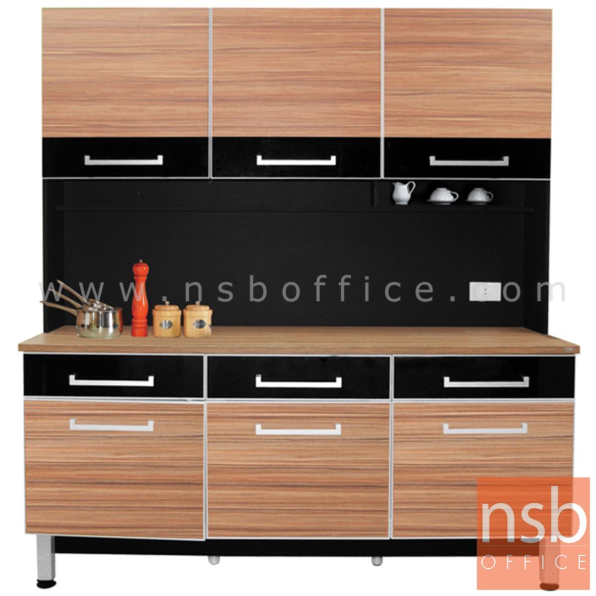 A33A016:ชุดตู้ครัวสูง ทันสมัย  รุ่น Minimus (มินิมัส)  ขนาด 180W cm. สีวอลนัทตัดกระจกชาดำ