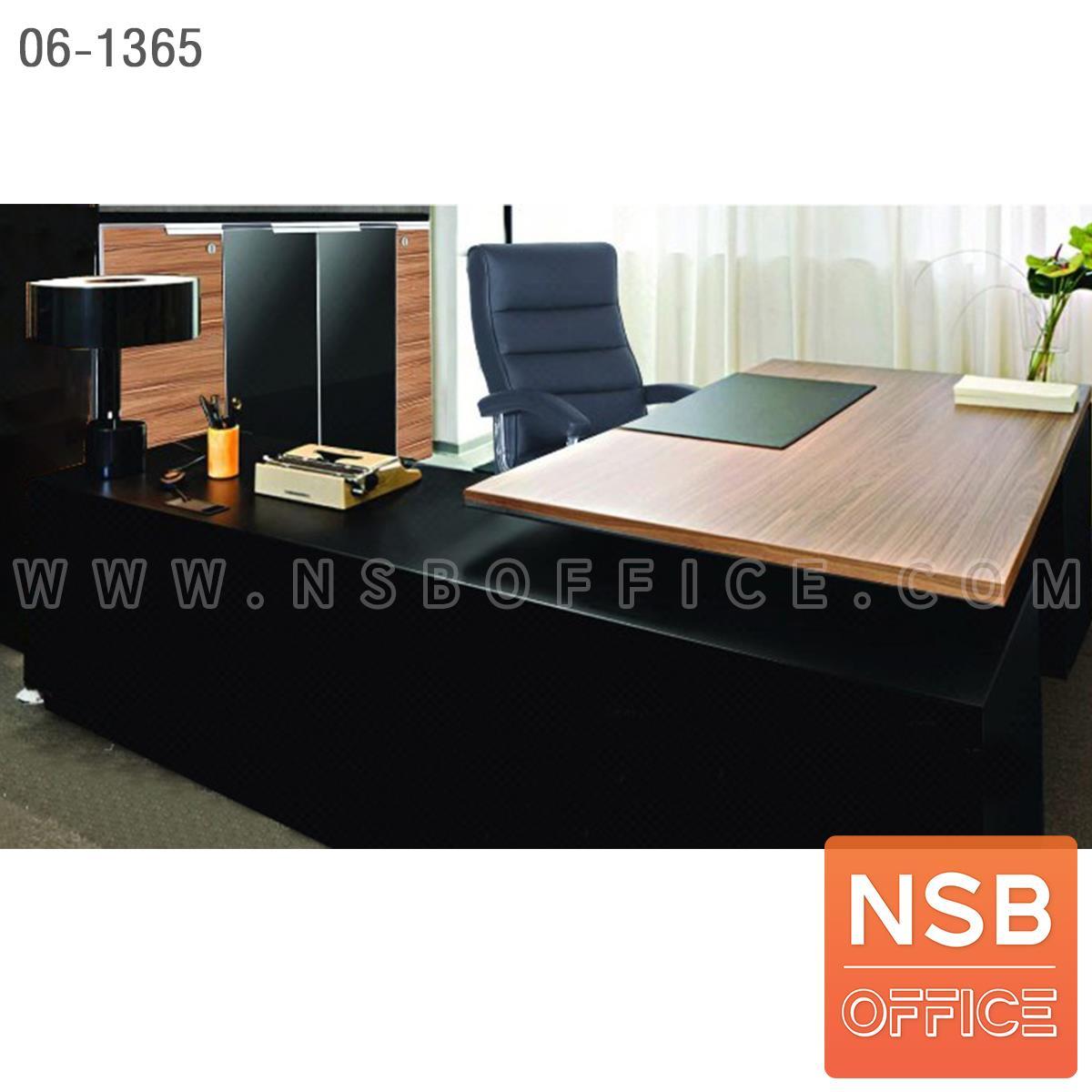 SETA005:เซ็ตโต๊ะทำงานตัวแอล สีวอลนัท-ดำ รุ่น Blackwalnut (แบล็ควอลนัท)  พร้อมตู้เก็บเอกสาร เก้าอี้ (รวม 4 ชิ้น)