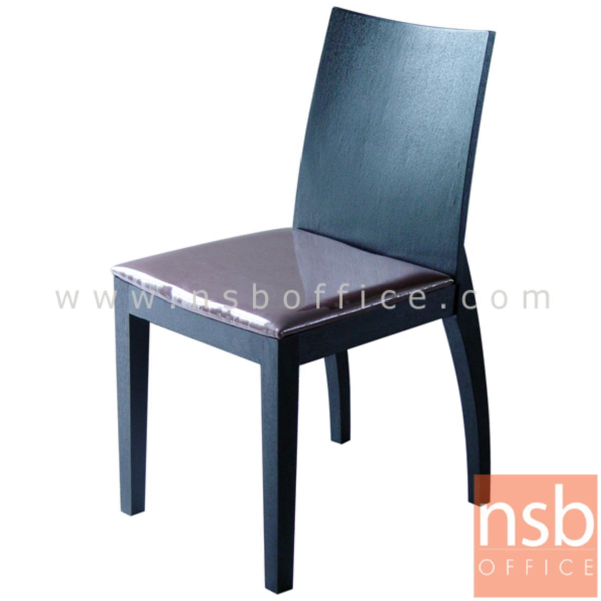 B22A137:เก้าอี้ไม้ยางพาราที่นั่งหุ้มหนังเทียม รุ่น Francesco (แฟรนเซสโก) ขาไม้