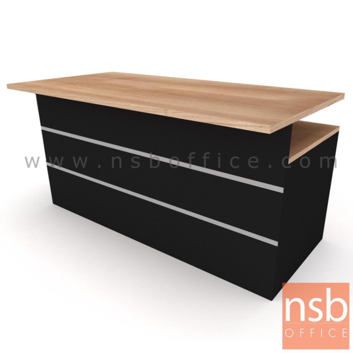 โต๊ะทำงาน 4 ลิ้นชัก  รุ่น Burton (เบอร์ตัน) ขนาด 150W, 180W cm.  พร้อมบังตาไม้ปิดเต็มแผ่น เมลามีน