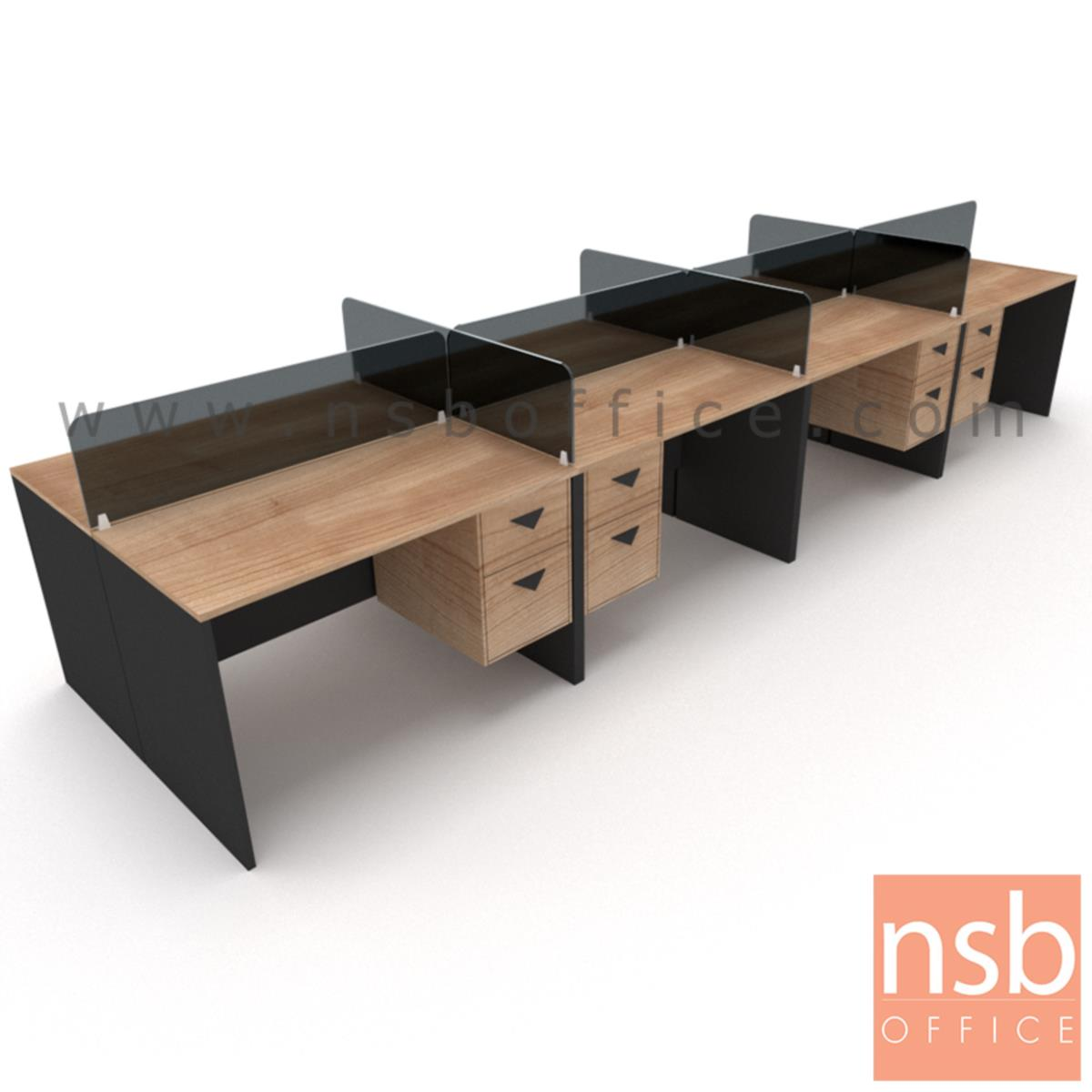 A04A168:ชุดโต๊ะทำงานกลุ่ม   4 ,6 ที่นั่ง ขนาด 240W ,360W cm.  พร้อมมินิสกรีนกระจกฝ้าและ 2 ลิ้นชักข้าง