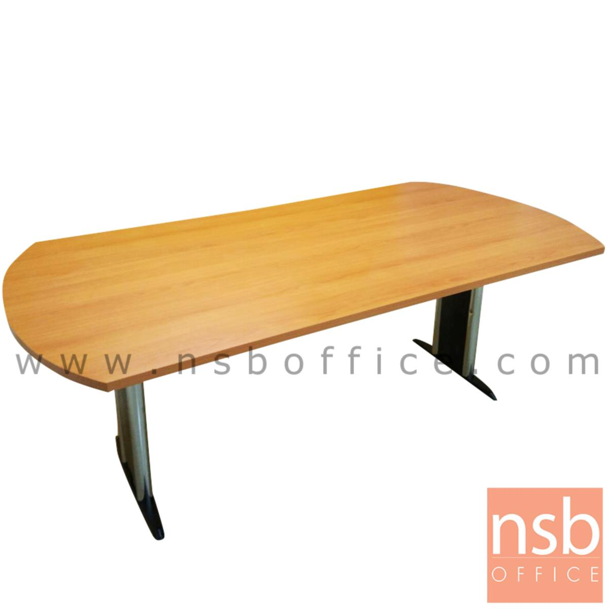 โต๊ะประชุมทรงเหลี่ยมหัวโค้ง  ขนาด 180W ,200W ,240W cm.  พร้อมระบบคานเหล็ก ขาเหล็กตัวไอ