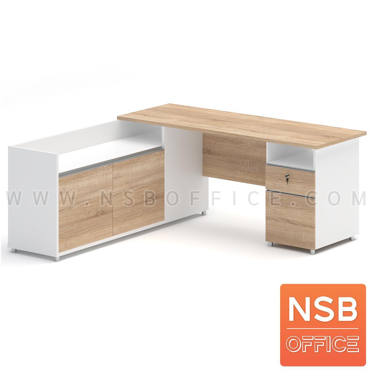 A21A004:โต๊ะทำงานตัวแอล 2 ลิ้นชัก  รุ่น Allsaint (ออลเซ็นต์) ขนาด 180W1*179W2 cm. เมลามีน สีเนเจอร์ทีค-ขาว