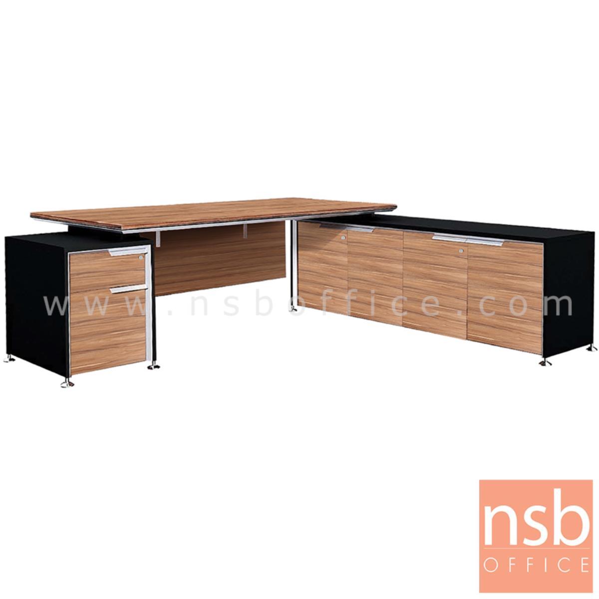 โต๊ะผู้บริหารตัวแอล 2 ลิ้นชัก รุ่น Mystique (มิสทีค) ขนาด 225W cm.  พร้อมตู้ข้างลิ้นชัก สีวอลนัทตัดดำ