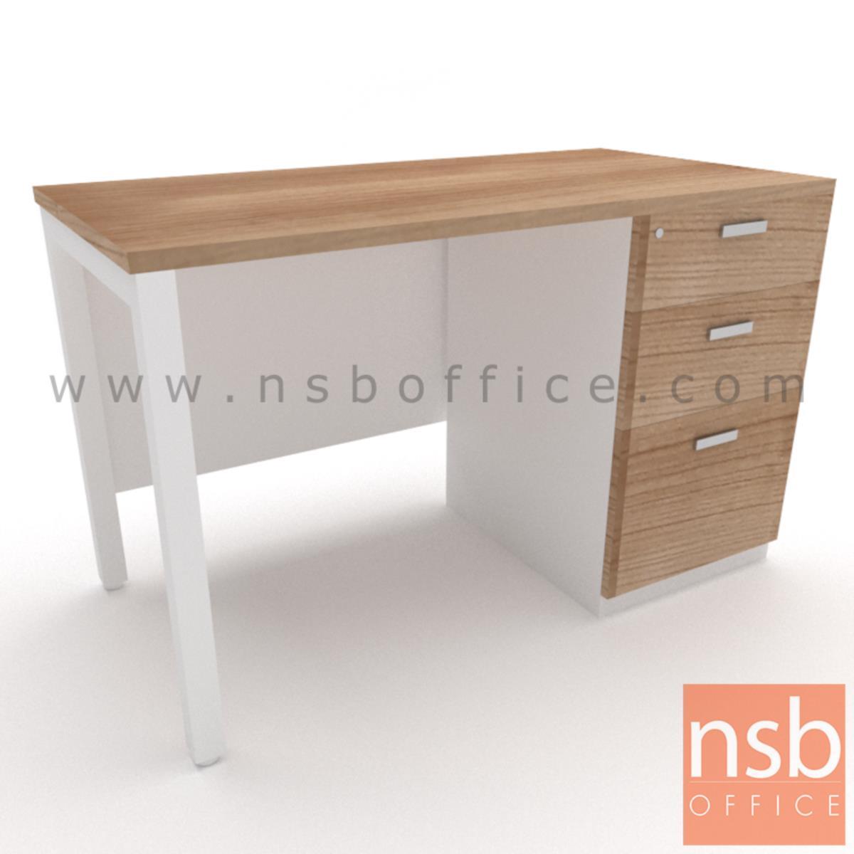 A18A063:โต๊ะทำงาน 3 ลิ้นชัก บังโป๊ไม้  ขนาด 120W ,135W ,150W ,180W cm.  ขาเหล็กเหลี่ยมทำสี