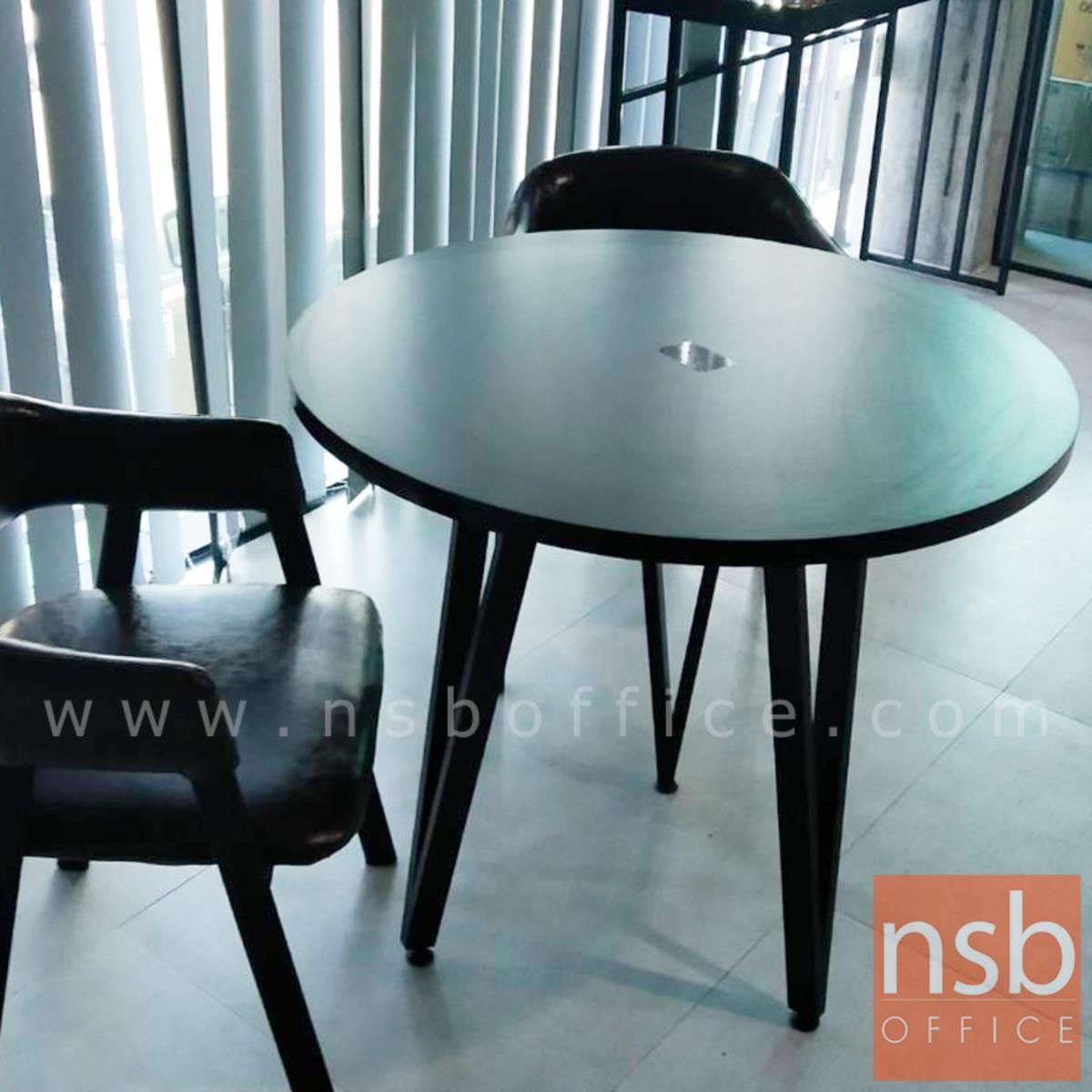 โต๊ะกลมหน้าเมลามีน 80 cm รุ่น Springfield (สปริงฟีลด์)   ขาเหล็กทรงสามเหลี่ยม