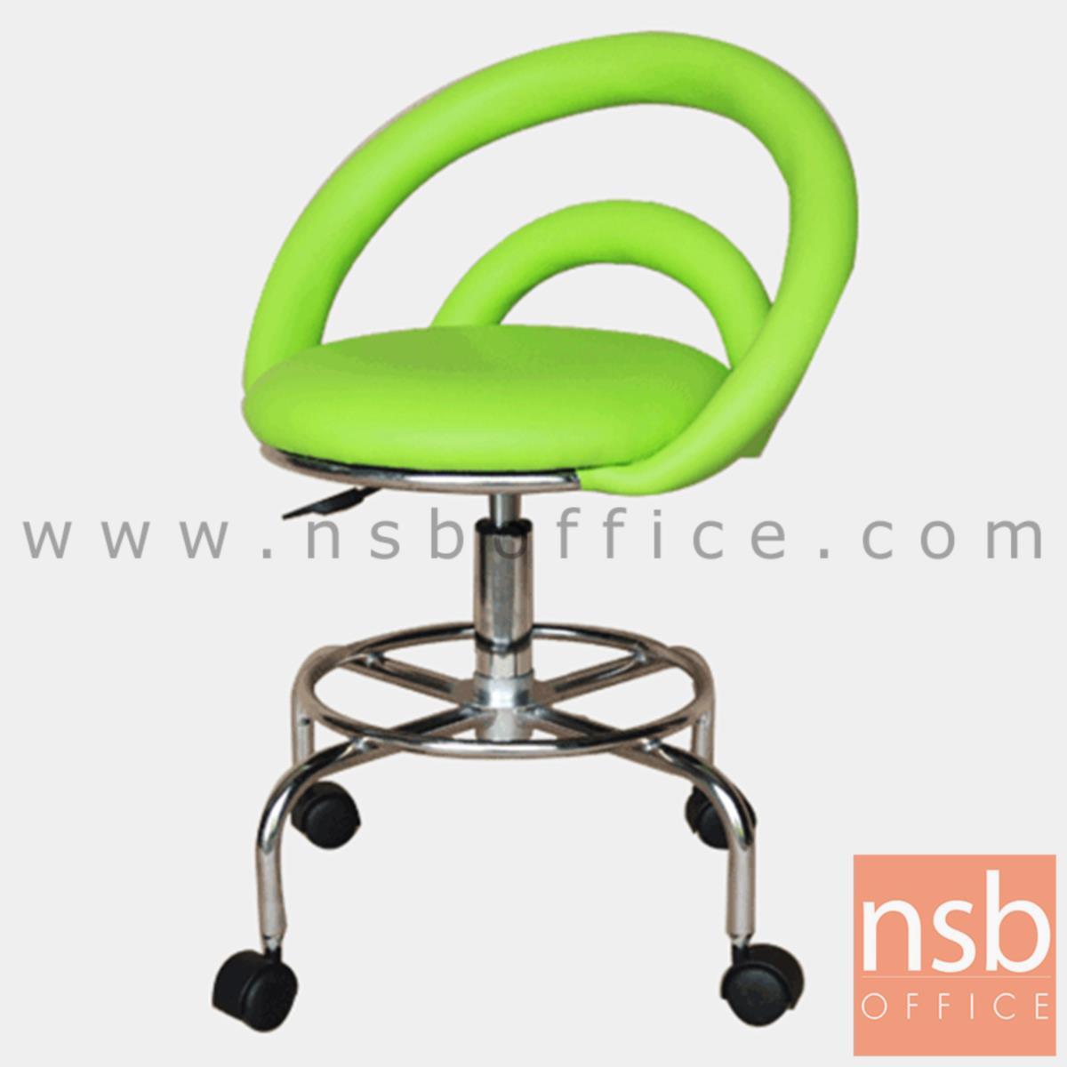 B09A104:เก้าอี้บาร์สตูลที่นั่งกลมล้อเลื่อน รุ่น Rio (ริโอ้)  โช๊คแก๊ส ขาเหล็กชุบโครเมี่ยม