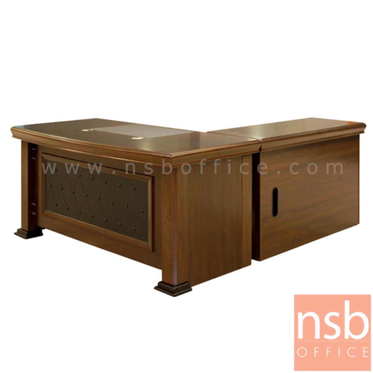 A06A113:โต๊ะผู้บริหารตัวแอล  รุ่น Nermal (เนอร์มอล) ขนาด 160W ,180W cm.  พร้อมตู้ลิ้นชักและตู้ข้าง