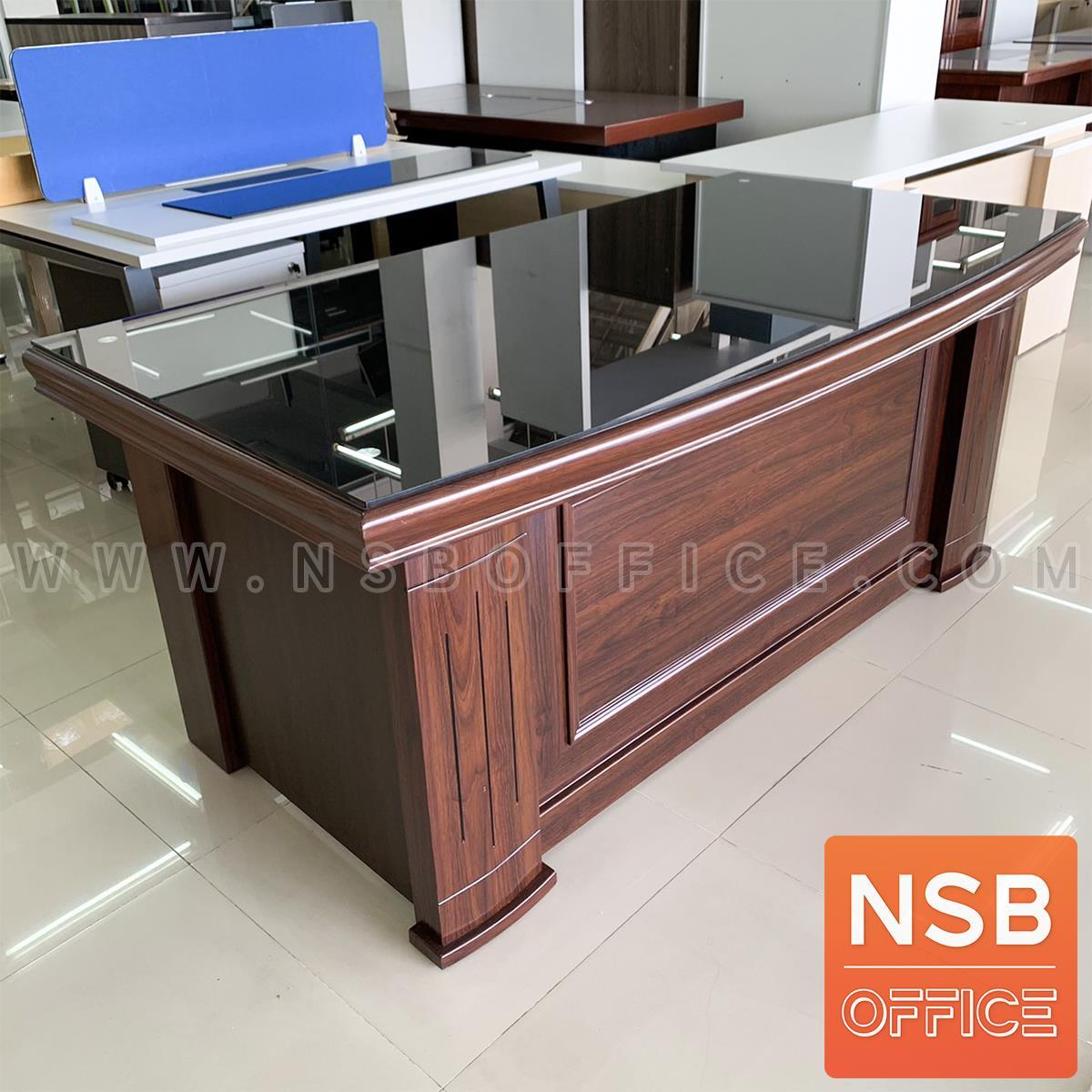 A06A153:โต๊ะทำงานผู้บริหาร รุ่น Phoenix (ฟีนิกซ์) ขนาด 180W cm. หน้าท็อปทับด้วยกระจก