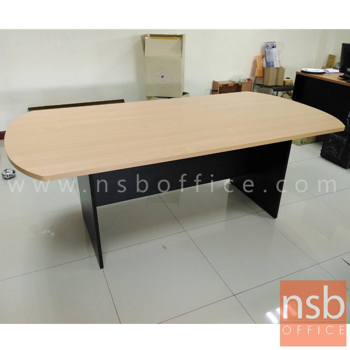 โต๊ะประชุมหัวโค้ง  6 ,8 ,10 ที่นั่ง ขนาด 180W ,200W ,240W cm. พร้อมระบบคานไม้ ขาไม้