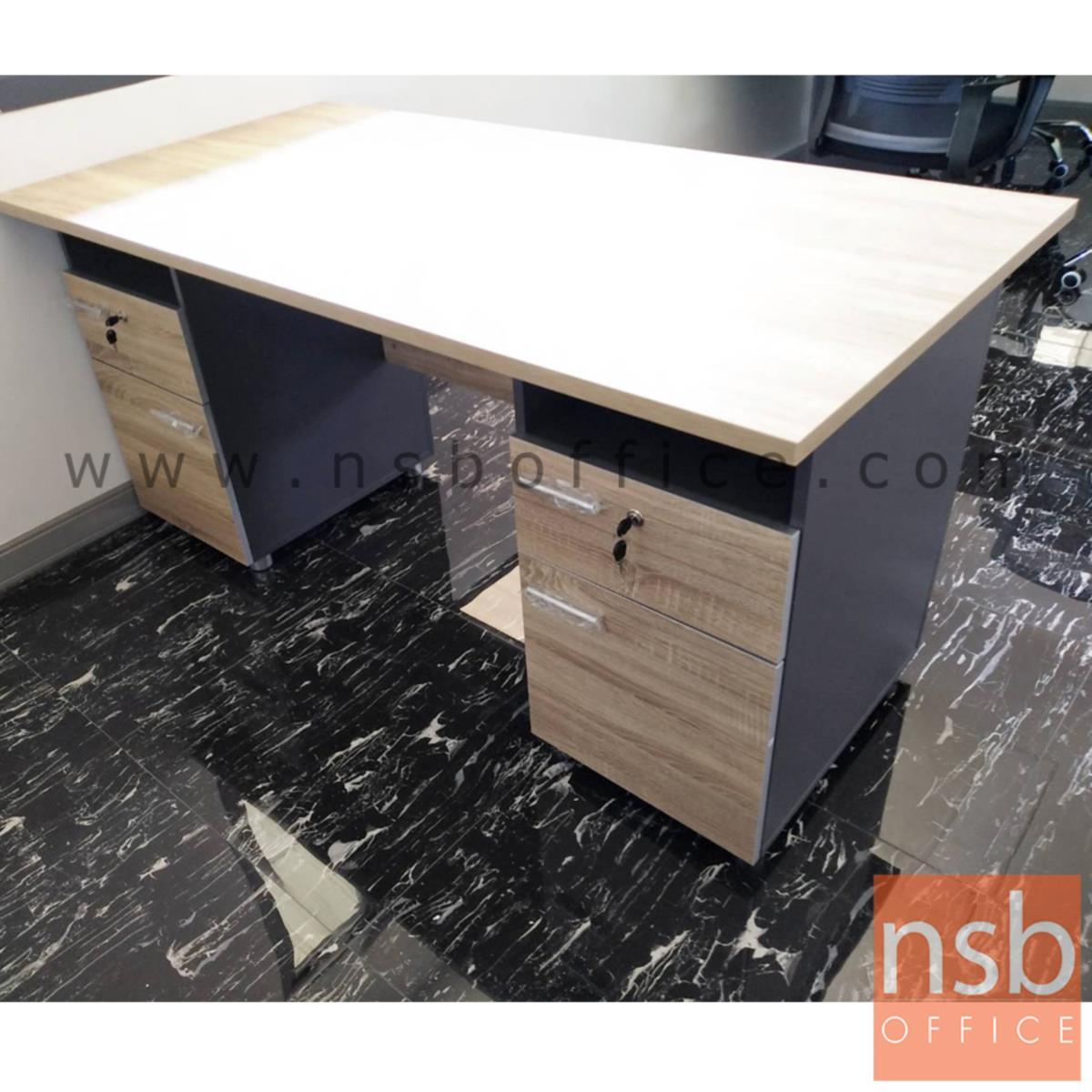 โต๊ะทำงาน 4 ลิ้นชัก  รุ่น DKK-1622  ขนาด 160W cm. เมลามีน สีแกรนโอ๊คตัดกราไฟท์