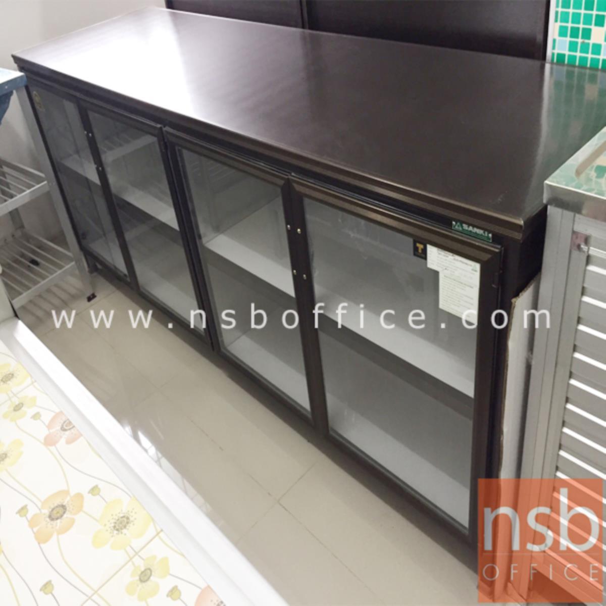 G07A059:ตู้ครัวอลูมิเนียมหน้าบานกระจกใส รุ่น Summer 78H*198W cm.
