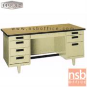 E28A101:โต๊ะทำงานเหล็กหน้าโฟเมก้าลายไม้ 8 ลิ้นชัก ยี่ห้อ Lucky รุ่น NT (4.5, 5, 6 ฟุต)