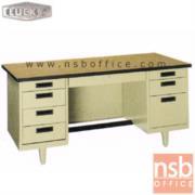 E28A101:โต๊ะทำงานเหล็กหน้าโฟเมก้าลายไม้ 8 ลิ้นชัก ยี่ห้อ Lucky รุ่น NT 4.5, 5, 6 ฟุต รุ่นพิเศษ กุญแจล๊อคที่เดียวล๊อคหมดทุกลิ้นชัก