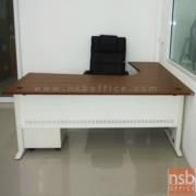 A34A008-2:โต๊ะทำงานตัวแอล รุ่น S-KDZ  ขนาด 180W* 180D* 75H cm. ขาเหล็กพ่นขาว ลายไม้ซีบราโน่-ขาว