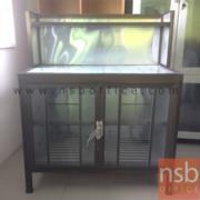 L04A004:ตู้ครัวอลูมิเนียมขอบสีชาหน้าเรียบ  100W 53D 120H cm.*มีสต๊อก1ใบ*
