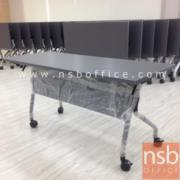 A05A077-1:โต๊ะประชุมท็อปไม้ ขาเหล็กพ่นบรอนซ์พับได้ บังโป๊เหล็ก 120W*60D*75H cm. มีล้อเลื่อน