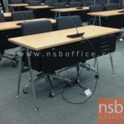 A07A052:โต๊ะพับขาวีปลายเรียว หน้าไม้เมลามีน บังโป๊เหล็กพ่นดำ 150W, 180W (60D/75D cm) (ซ้อนเก็บได้)