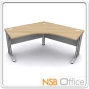 A18A020:โต๊ะทำงานโล่งหน้าโค้งมุมเมอแรง ขาเหล็ก 120W1*120W2*60D1*60D2*75H cm. ผิวเมลามีน