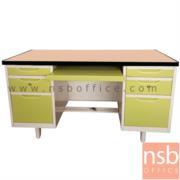 E02A051:โต๊ะคอมพิวเตอร์เหล็ก 6 ลิ้นชัก 1 รางคีย์บอร์ด  4.5 ฟุต, 5 ฟุต  หน้า TOP ไม้เมลามีน
