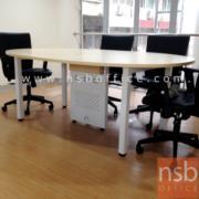 A05A136-1:โต๊ะประชุมวงรี  ขนาด 200W*100D cm. ขาเหล็กพร้อมกล่องนำสายไฟตรงกลาง
