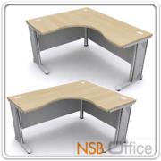 A18A018-3:โต๊ะทำงานโล่งหน้าโค้งตัวแอล ขาเหล็ก 180W1*120W2*80D1*60D2*75H cm.ผิวเมลามีน