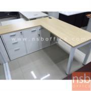A18A031:โต๊ะทำงานตัวแอล ขาเหล็กมีบังโป๊  พร้อมตู้เก็บเอกสาร 2 บานเปิดและ 3 บานลิ้นชัก