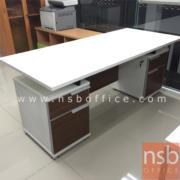A34A004:โต๊ะทำงาน 4 ลิ้นชัก TOP ขาว รุ่น S-KDZ 180W*80D cm.  ลายไม้ซีบราโน่-ขาว (ลิ้นชักฝั่งละ 2 ช่อง)