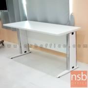 A05A031-2:โต๊ะประชุมตรง รุ่น Oracle   2 ที่นั่ง ขนาด 150W cm.  พร้อมบังตาไม้ ขาเหล็กตัวแอล