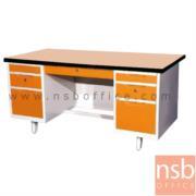 E02A050:โต๊ะทำงานเหล็กหน้า TOP ไม้เมลามีน 7 ลิ้นชัก  4.5ฟุต, 5ฟุต