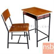 A17A031:ชุดโต๊ะเก้าอี้นักเรียนมัธยม ขาเหล็กกลมพ่นดำ รุ่น PJ-CTBB-8