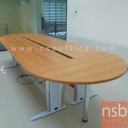 A05A008-1:โต๊ะประชุมยาวหัวโค้ง ขาเหล็กโครเมี่ยม 8-10 ที่นั่ง 270W*120D cm เมลามีน