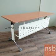 A05A067-1:โต๊ะพับอเนกประสงค์ รุ่น YT-FTG20 ขนาด 160W*60D cm. ขารุ่นใหม่ ล้อเลื่อน มีบังโป๊