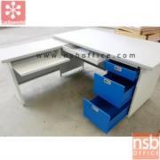 E31A003:โต๊ะทำงานเหล็กตัวแอล 4 ลิ้นชัก LUCKYWORLD-DL-52-3ADK หน้าลามิเนท