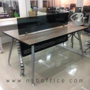 A04A171:โต๊ะทำงานกลุ่ม 2 ที่นั่ง 160W*100D cm พร้อม miniscreen และแผ่นบังตา