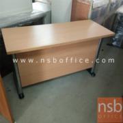 L01A078:โต๊ะทำงานโล่ง สีบีช ขาเหล็กโครเมี่ยมดำ