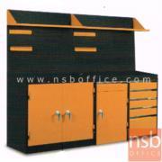 E09A023:ชุดตู้เก็บเครื่องมือช่าง 215W*49.7D*183H cm. พร้อมแผ่นท็อปแผ่นชั้นและอุปกรณ์เสริม