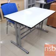 A07A032:โต๊ะเอนกประสงค์หน้าโฟเมก้าขาว รุ่น PL-DM02157 มีที่แขวนจัดเก็บเก้าอี้