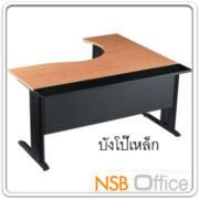 A10A008:โต๊ะทำงานตัวแอล ขาเหล็กดำ 160W1*140W2*80D1*50D2 cm บังโป้เหล็ก S-DK-84161 เมลามีนสีทูโทน