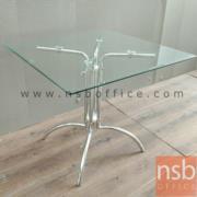 A09A049:โต๊ะหน้ากระจก รุ่น Tower Square  80W cm. ขาเหล็กชุบโครเมี่ยม ขาคู่ 4 แฉก