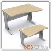 A18A016-1:โต๊ะทำงานโล่งหน้าโค้งขาเหล็ก  ขนาด 120W*80D*75H cm. ผิวเมลามีน