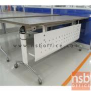 A05A067-1:โต๊ะพับอเนกประสงค์ มีบังโป๊ YT-FTG20 160W*60D cm. มีล้อเลื่อน