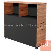 C01A037:ตู้กั้นข้างโต๊ะทำงาน สำหรับ 2 ที่นั่ง (2 บานเปิด 2 ลิ้นชัก) SR-B120 สีวอลนัทตัดดำ