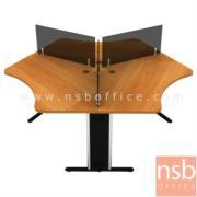 A27A005-1:โต๊ะทำงานกลุ่ม 3 ที่นั่ง  ขนาดรวม 206W*180D*75H1*105H2 cm (ขนาดต่อที่นั่ง 90W1*90W2*66D1*50D2 cm.) พร้อมมินิสกรีน
