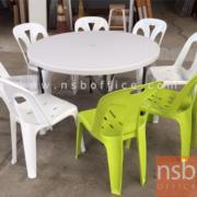 A19A025:โต๊ะพับกลมหน้าพลาสติก รุ่น PL-OPF ขนาด 115Di* 74H cm. ขาอีพ็อกซี่เกล็ดเงิน