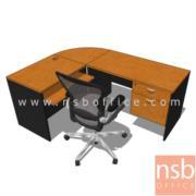 A12A019:โต๊ะทำงานตัวแอล SMART 180W*140D cm เมลามีน เชอร์รี่ดำ (ตัวมุมเป็นแผ่นไม้)