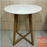 L08A068:โต๊ะกลมสีขาวขาเหล็ก หน้าพลาสติก  มี2ตัว  ขนาด60*60*73 ซม.