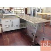 A16A065:โต๊ะทำงานตัวแอล ขาเหล็กปลายเรียว ข้างตู้เก็บของยาว 150W1*165W2*75D1*40D2*75H cm.