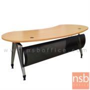 A13A053:โต๊ะผู้บริหารทรงรูปถั่ว  รุ่น TJ-2650  ขนาด 200W cm. พร้อมบังตาเหล็กโค้ง ขาเหล็ก